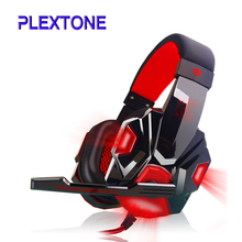 PLEXTONE LED Light Gaming Headphones with Mic Stereo Earphone Over ear Headset Noice Cancel for IOS Android Smartphone Table PC