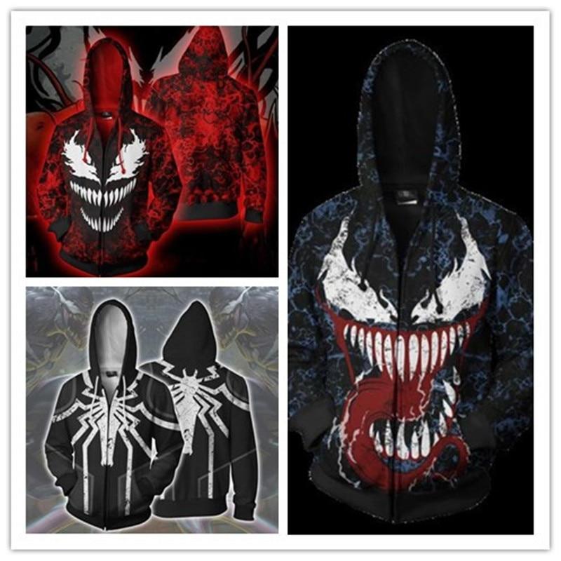 New Movie Venom Superhero Movie Zipper Sweater Hoodie Cosplay Costumes Edward Brock Eddie Brock Christmas Plus Size Pullover