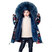 2018 Winter Girls Rabbit Fur Coat Parkas Boys Jacket Big Real Raccoon Fur Collar Thick Warm Long Outerwear Kids Warm Clothes M06