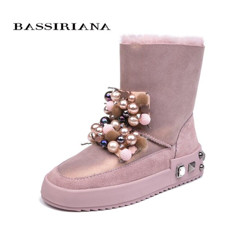 BASSIRIANA 2018 invierno nueva de gamuza de piel de oveja caliente invierno botas para la nieve de las mujeres zapatos de Color rosa negro gris tamaño 35- 40