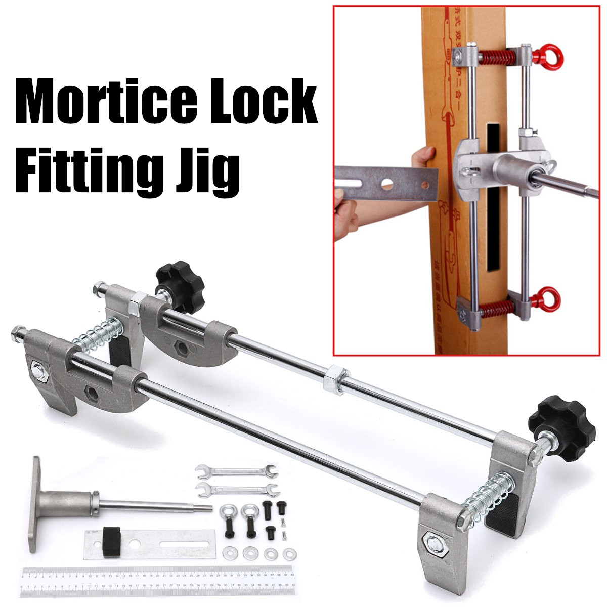 Door Lock Mortiser Fitting Jig Mortice Kit with Wrench Home Improvement Tool Mortice Door Fitting Jig цена