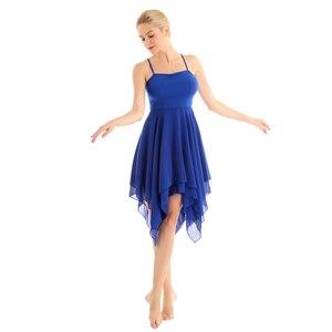 Image 3 - TiaoBug Adult Spaghetti Straps Asymmetrical Women Chiffon Modern Ballroom Dress Ballet Tutu Contemporary Lyrical Dance Costumes