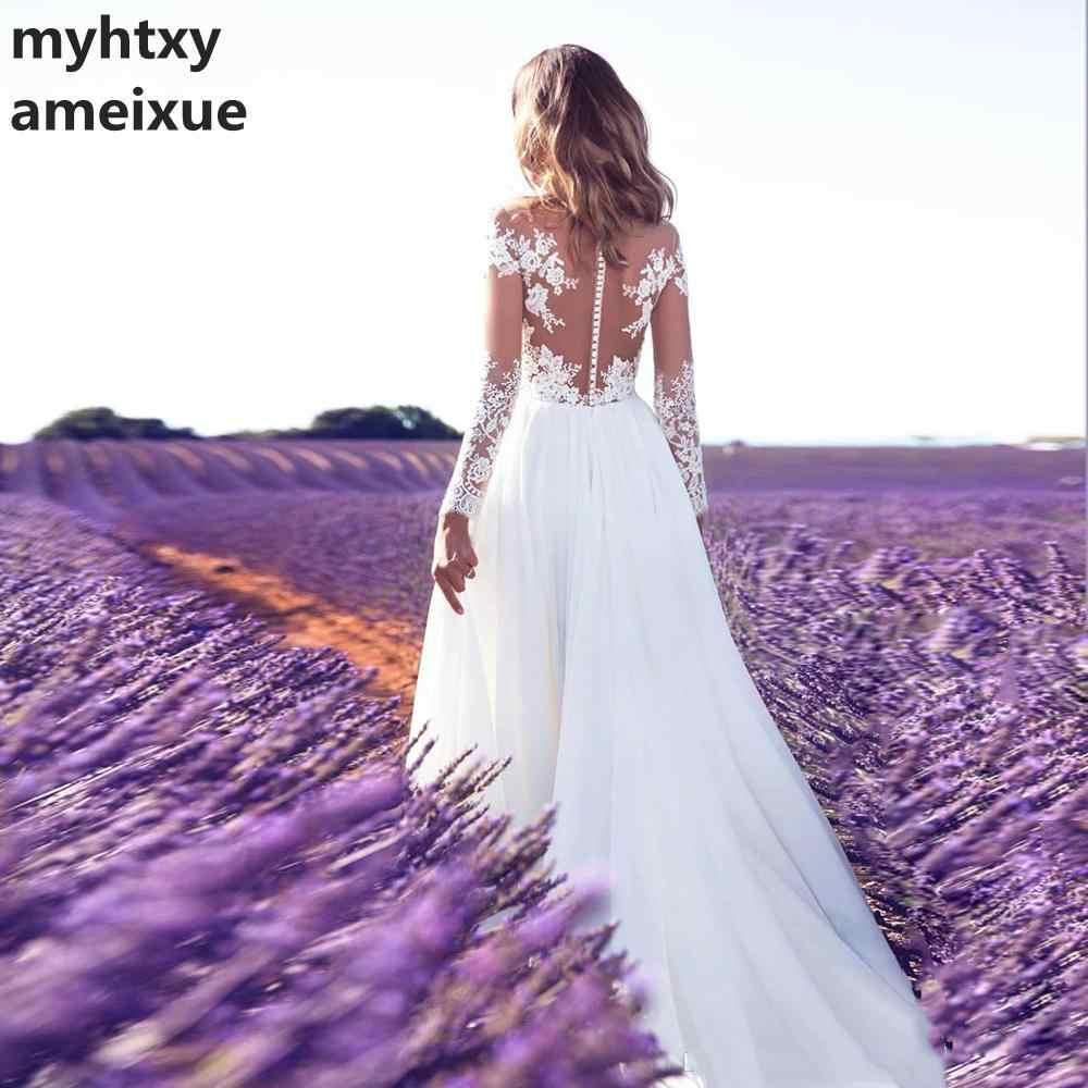 Barato rendas mangas compridas vestido de casamento 2018 praia vestido de noiva chiffon rendas apliques branco/lvory botões românticos turquia