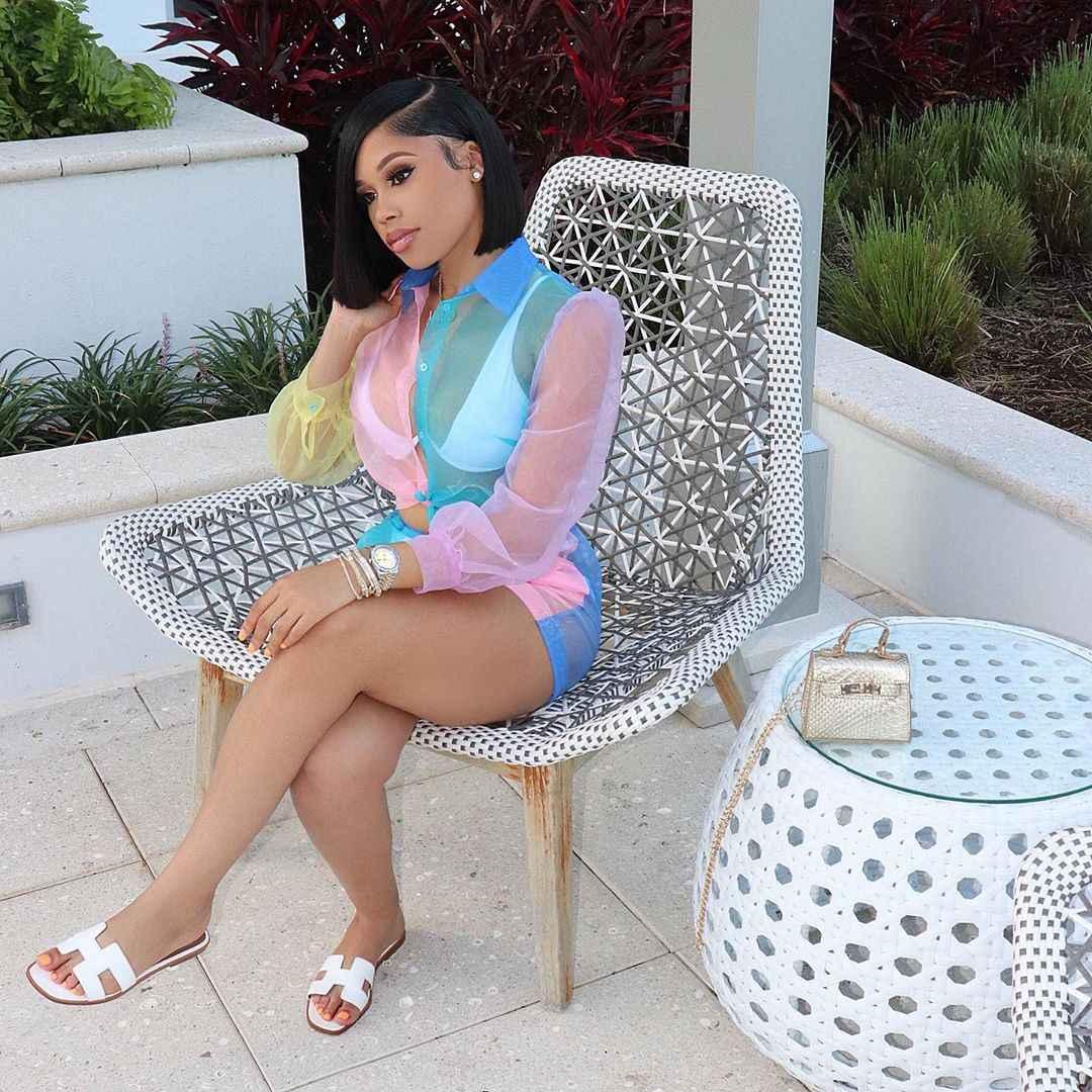 ANJAMANOR 2 点セット女性のセクシーな服秋 2019 カラーブロックメッシュブラウスとショートパンツかわいい 2 ピース衣装 d30-AA63