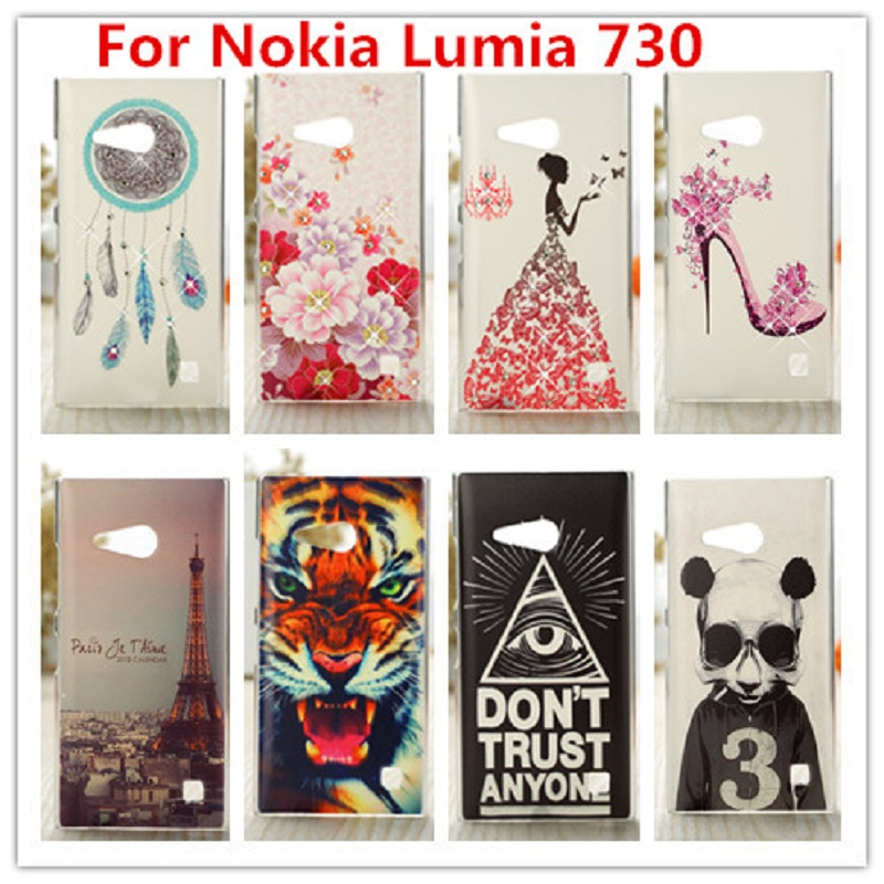 Untuk Nokia Lumia 730 Case / Luxury Crystal Diamond 3D Bling Hard Plastic Cover Case Untuk Nokia Lumia 730 735 dual sim Phone Case