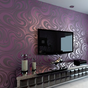 Image 1 - Moderne Abstrakte Luxus 3D Wallpaper Rolle Wand Beflockung Kurve Gestreiften Non Woven TV Sofa Hintergrund Wand Papier für Wände Lila