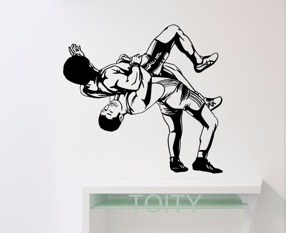Wrestling Wall Sticker Sports Wrestler Vinyl Decal GYM Dorm Home Room Interior Decoration Teen Art Mural-in Wall Stickers from Home u0026 Garden on ...  sc 1 st  AliExpress.com & Wrestling Wall Sticker Sports Wrestler Vinyl Decal GYM Dorm Home ...