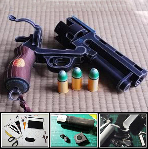 Paper Model Gun Hellboy Revolver With Bullets Simulation 1:1 Scale Firearm Magazine Adult 3D Puzzles Toy Free Shipping 3d paper model gun pistol hellboy revolver with bullets firearm oversized model