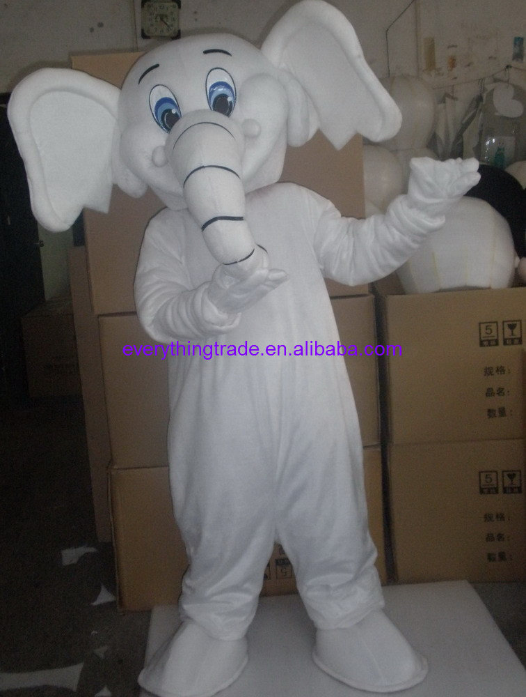 2014 Hot selling Adult cartoon lovely white elephant mascot costume fancy dress party adult size - Mascots store