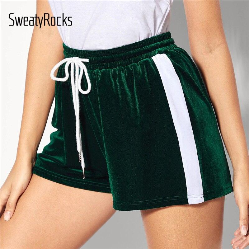 SweatyRocks Striped Tape Side Drawstring Waist Velvet Shorts Green Activewear Shorts 2019 Fashion Summer Streetwear Women Shorts