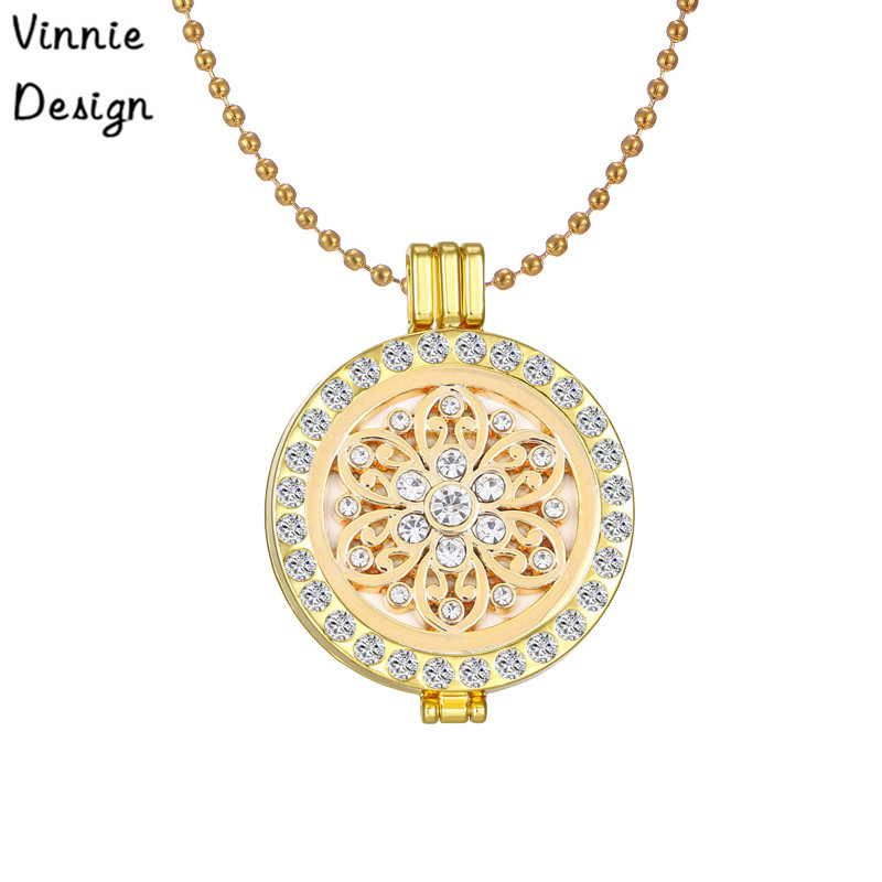 Interchangeable Disc Necklace: Vinnie Design Interchangeable Flower Coins Disc Pendant