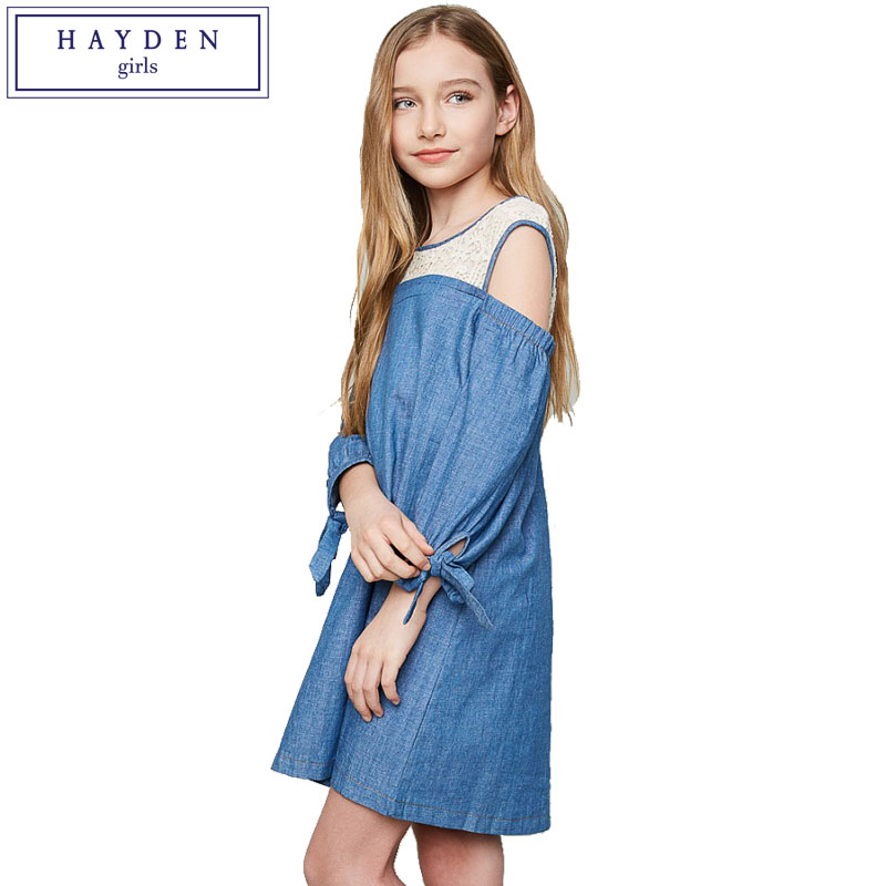 HAYDEN Patchwork Lace Dress Girls Kids Blue Long Sleeve Cotton Dresses for Teenagers Age 7 to 14 Years 2017 Lace Girl Dress 2pcs toddler baby safety lock kids drawer cupboard fridge cabinet door lock plastic cabinet locks baby security lock