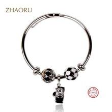 цена Zhaoru Authentique 925 Sterling Silver Bangle with Black Enamel Crystal bracelet for Women Fashion Fine Jewelry Gift Bangle онлайн в 2017 году