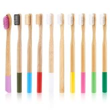Оптовая продажа 20 шт. цвет ful Зубная щетка из натурального бамбука мягкая щетина бамбук экологически чистые зубная щетка уход за полостью рта случайный цвет