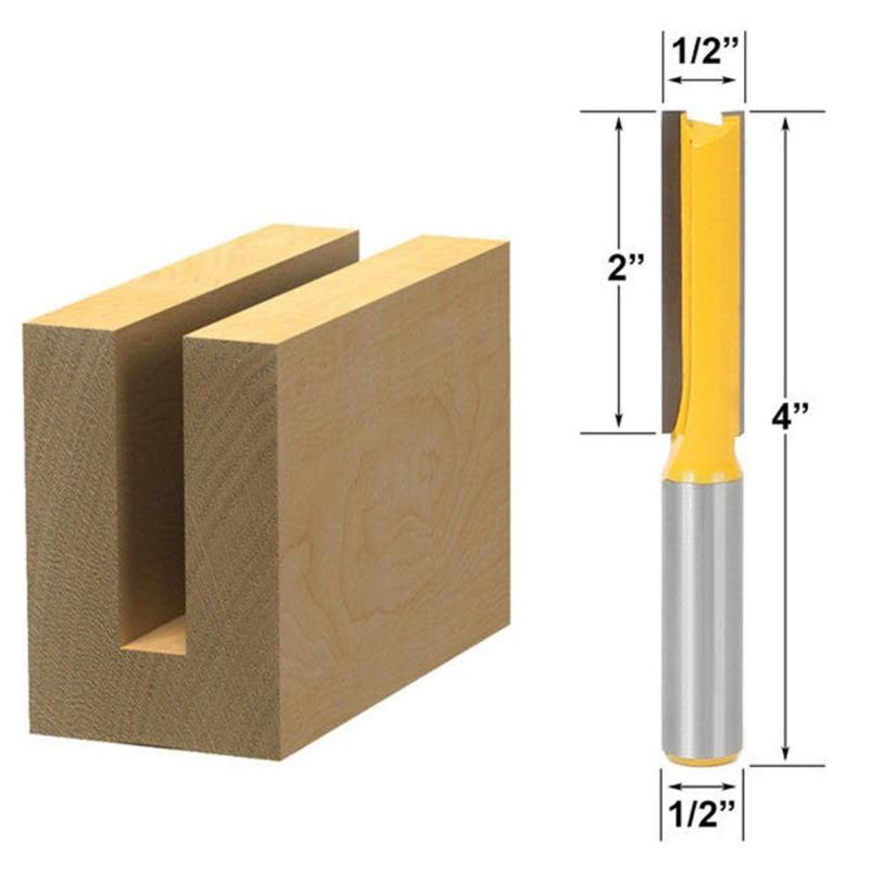 1pc 1/2 Handle Double Edge Straight Knife Wood Engrave Trimming Milling Cutter For Mill Wood Woodworking Tools