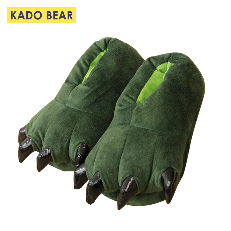 Kids Winter Warm Soft Indoor Family Slippers Women Men Children Funny Animal Baby Boy Girl Monster Dinosaur Fur Claw Plush Shoes