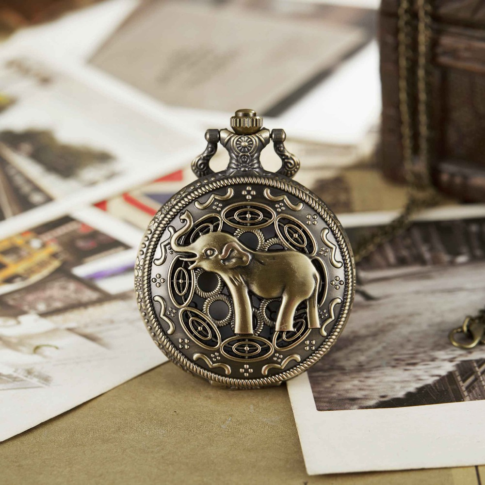 Cute Elephant Pocket Watch Antique Carved Bronze Full Hunter Pocket Watches Necklace Fob Clock With Necklace Women Men Gifts