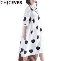 CHICEVER Dotสีขาวชุดฤดูร้อนหญิงเข่ายาวลำลองผู้หญิง