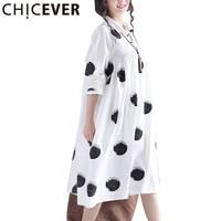 Chiceverドット白い夏のドレス女