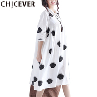 CHICEVER 2017 Summer Dress Women Tunic Print Dots Loose Big Swing Casual Dresses Of The Plus