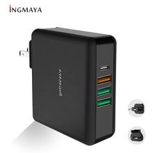 """INGMAYA פ""""ד USB סוג C מטען 61 W QC 3.0 כוח משלוח עבור iPhone iPad Macbook HP Dell ASUS Acer סמסונג S10 matebook USB C קיר מתאם"""