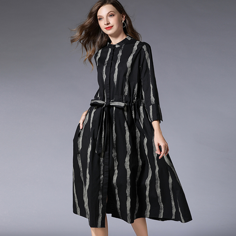 Lady Cotton Shirt Dress Plus Size Spring Summer 2019 Loose Striped Office Black Long Sleeve Sashes Party Shirt Dresses Woman in Dresses from Women 39 s Clothing
