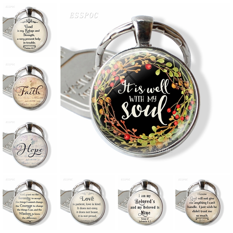 "2019 New Fashion Bible Verse Keychain "" It Is Well With My Soul "" Bible Verse Quote Key Chain Car Key Holder Best Christmas Gift"