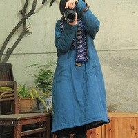 SCUWLINEN 2017 Vintage Autumn And Winter Women Tencel Hemp Comfortable Pocket Cotton Padded One Piece Dress