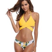 1e1fc3b0cdc SHEKINI Womens Bathing Suits Floral Printing Swim Bottoms Padded Halter  Bandage Bikini Two Piece swimming suit