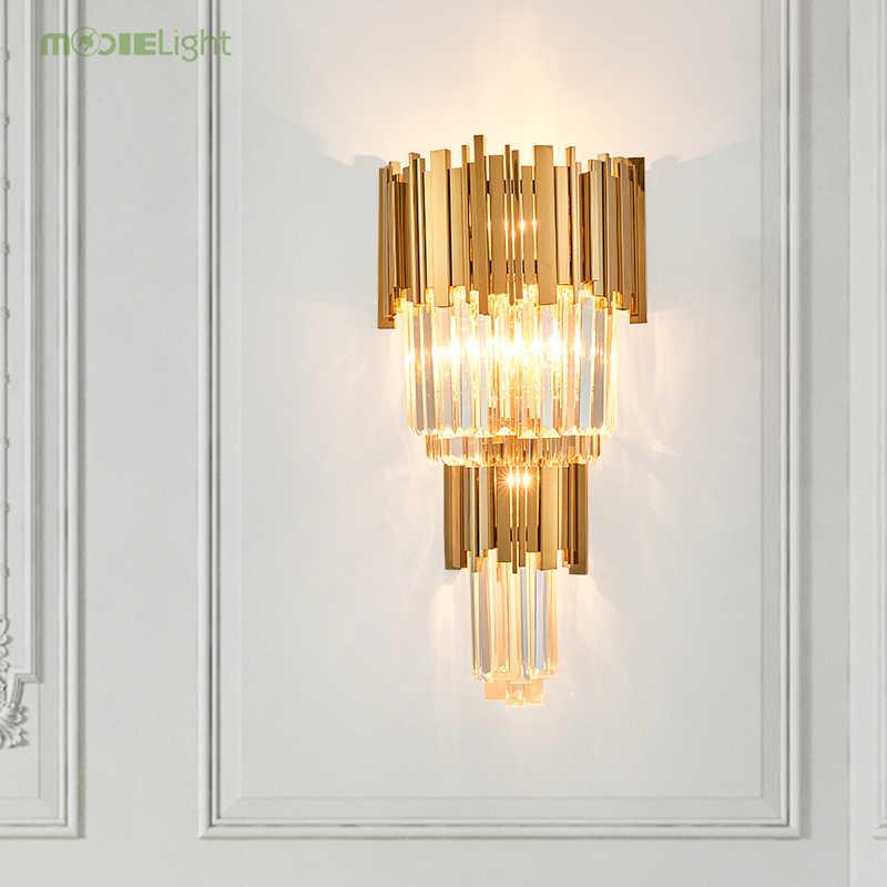 E14 новая кристальная прикраватная лампа золото Гостиная лампа Нержавеющаясталь арт настенная декоративная лампа бра лампе светильник в спальню Декор