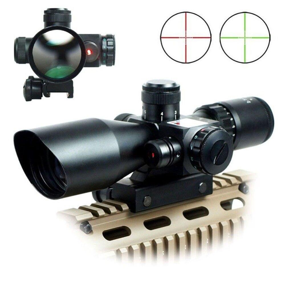 все цены на 2015 NEW 2.5-10 x 40 Illuminated Riflescopes Rifle Scope Hunting Scope w/ red laser + CR2032 battery + Lens caps VE777 T15 0.3 онлайн