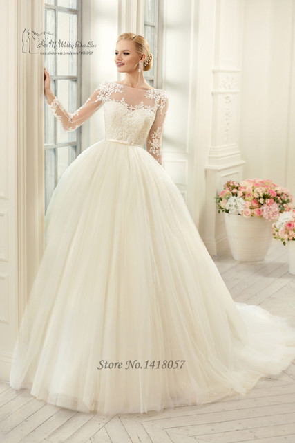 Cheap Vintage Wedding Gowns Lace Ball Gown Bridal Dress Long Sleeve ...
