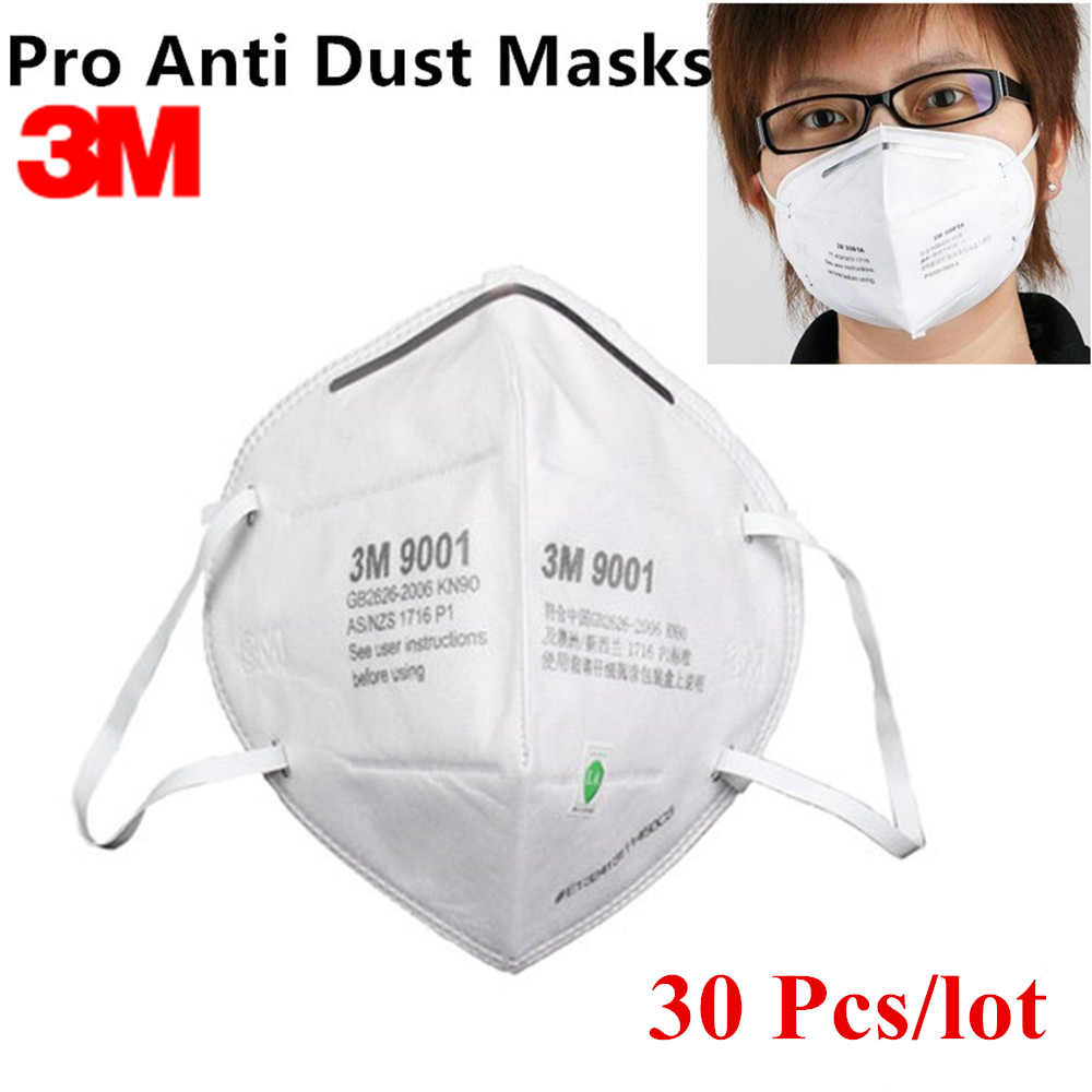 30Pcs 3M 9001 KN90 Dust Masks Respirator Anti-dust PM2.5 Industrial Construction Pollen Haze Gas Family & Pro Site Protection
