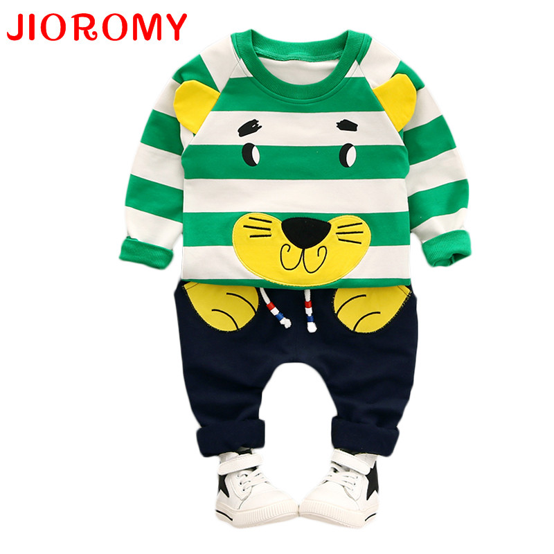 JIOROMY Baby Boy Clothing Set New Autumn 1-3 year 2017 Fashion Style Cotton O-Neck full Sleeve Strip Lion Boys Clothes Set k1 baby body new real fashion unisex floral full o neck 2018 baby boy pants suit cotton clothing overalls infant autumn pieces