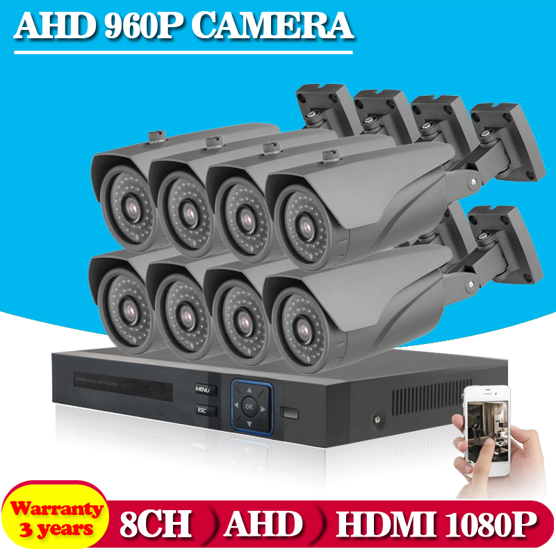 8CH 1080P AHD CCTV DVR System 8PCS CCTV Cameras 1 3 Megapixels Enhanced IR Security Camera