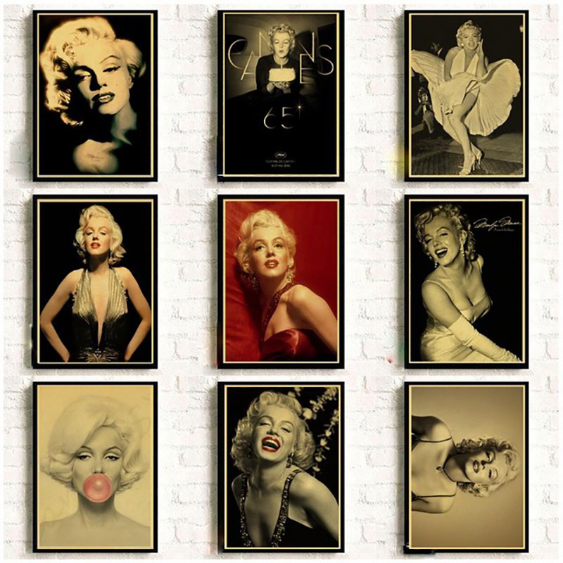 Nordic Canvas Paintings Printed Home Decoration Famous Actress Marilyn Monroe Wall Artwork Modular Pictures Posters Living Room image