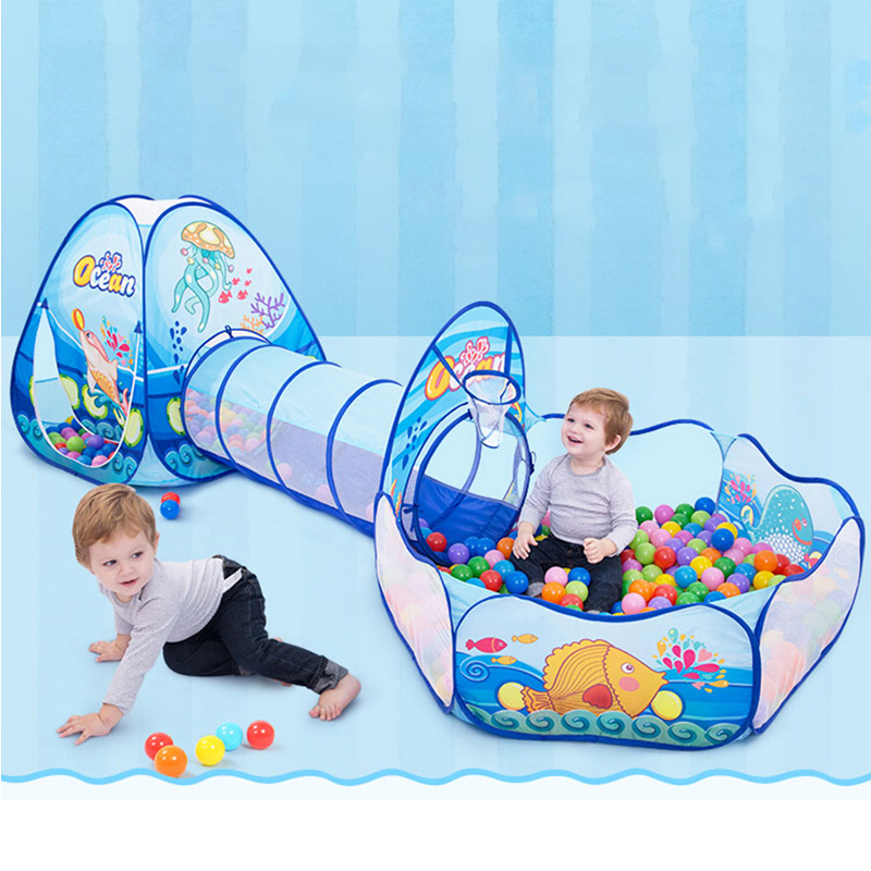 Большой размеры 120*90*330 см складная детская палатка туннель играть палатка синий океан Рыбы Узор дом крытые шатры детей Детский бассейн с шар...