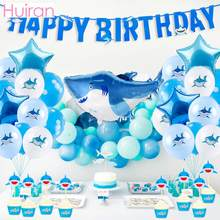 HUIRAN Baby Shark Birthday Party Supplies Decorations Disposable Party Tableware Paper Cup Plates Kids Favors Baby Shower boy(China)