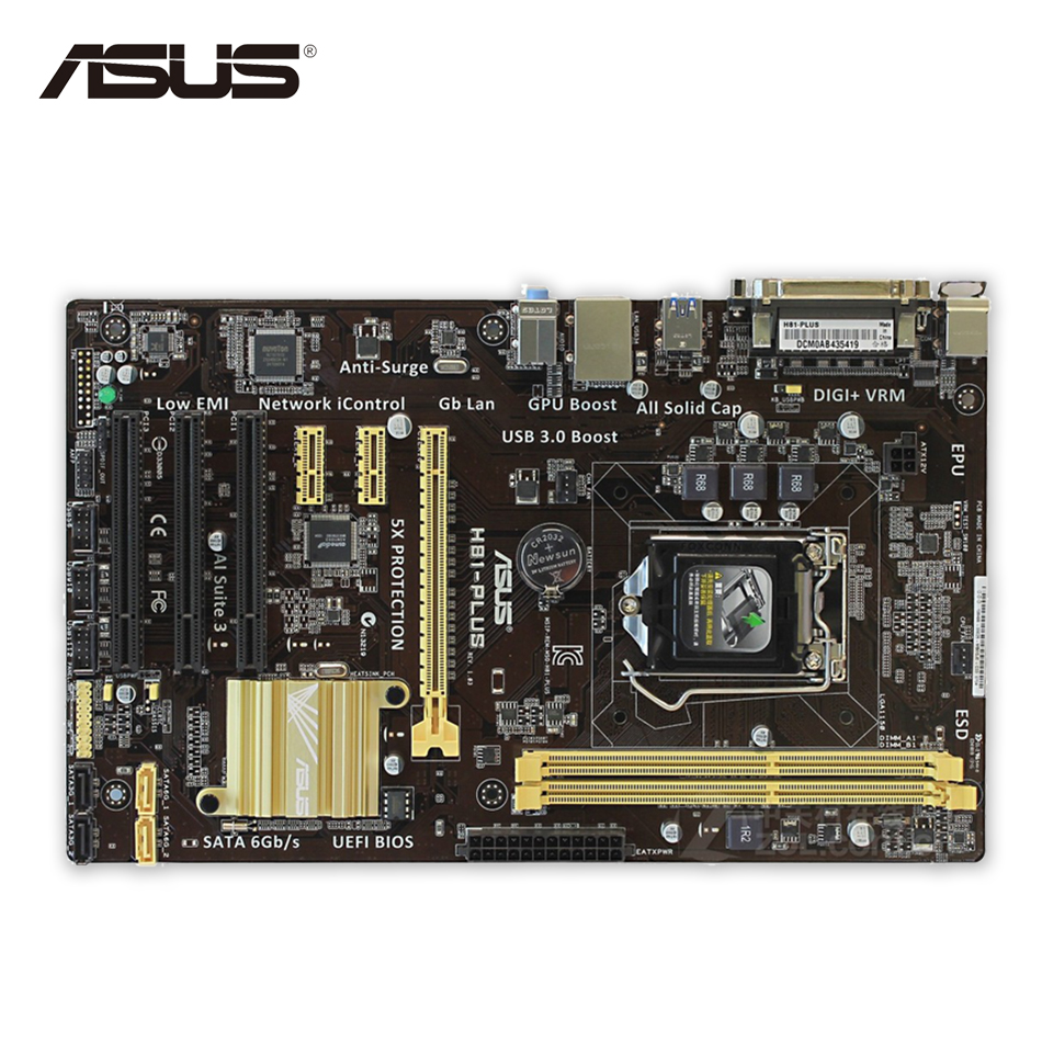 Asus H81-PLUS Desktop Motherboard H81 Socket LGA 1150 i7 i5 i3 DDR3 16G SATA3 UBS3.0 ATX Second-hand High Quality материнская плата asus h81m r c si h81 socket 1150 2xddr3 2xsata3 1xpci e16x 2xusb3 0 d sub dvi vga glan matx