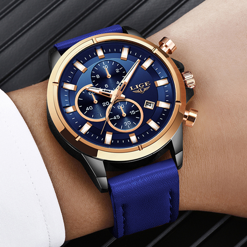 LIGE Casual Sports Watches For Men Blue Top Brand Luxury Military Leather Wrist Watch Man Clock Fashion Chronograph Wristwatch