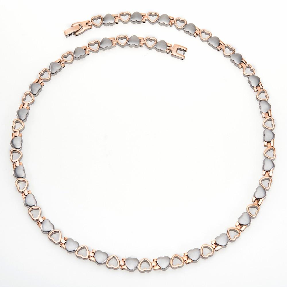 Wollet Bijoux Coeur Conception Or Rose Couleur 316L Acier Inoxydable Collier Pendentif pour Femmes 5 dans 1 Soins de Santé Bio aimant