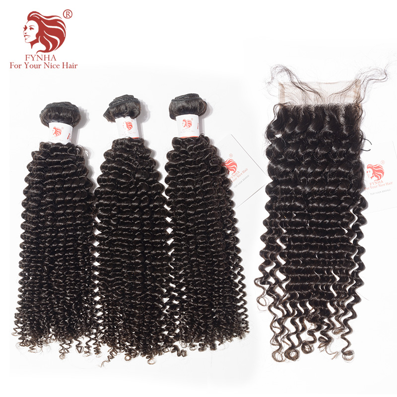 [FYNHA] Kinky Curly Weave Brazilian Remy Hair 3 Bundles With Closure Human Hair Extensions Natural Black For Your Nice Hair