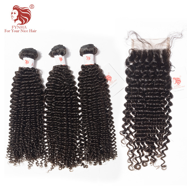 Fynha Kinky Curly Weave Brazilian Remy Hair 3 Bundles With Closure