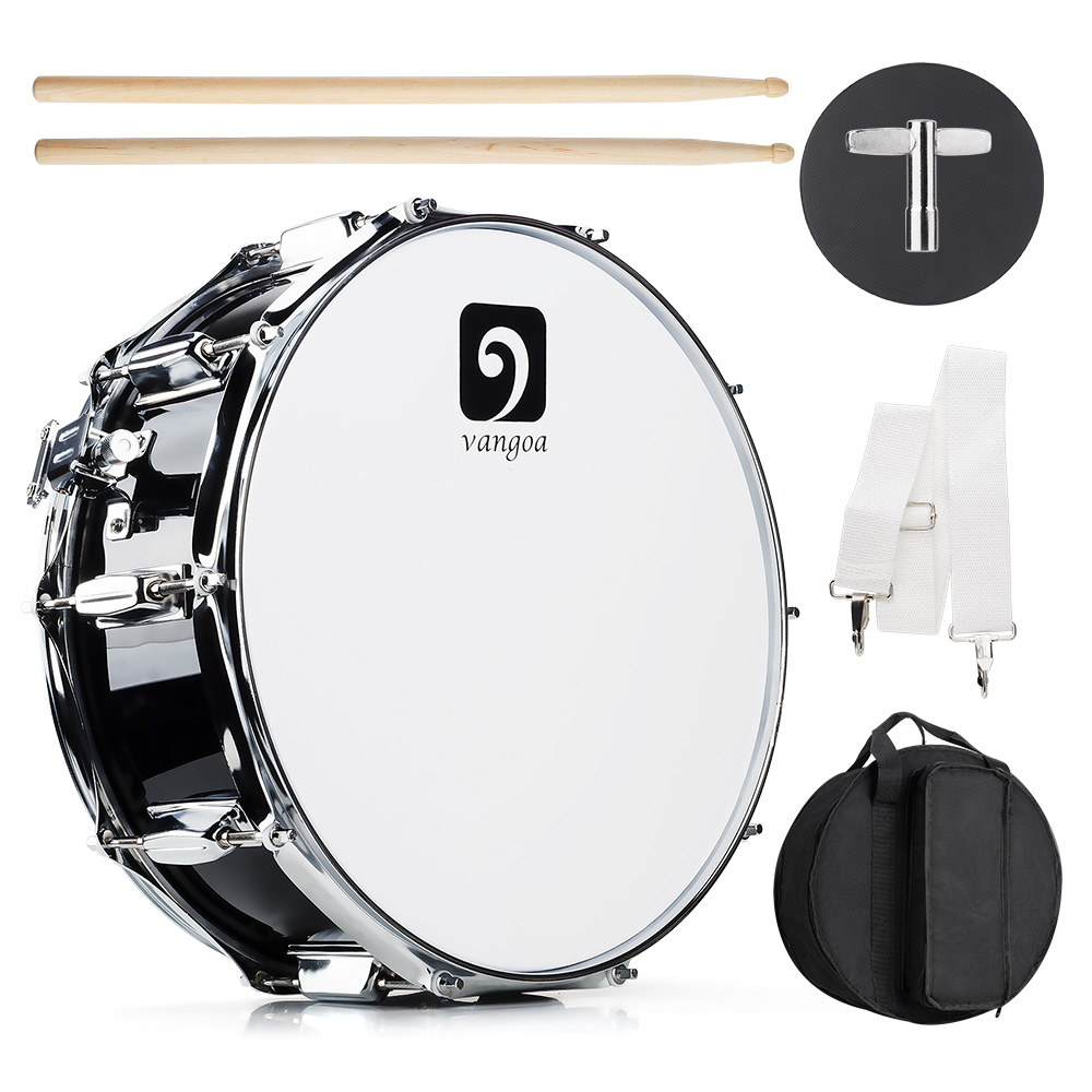 14 Inch Snare Drum Kit, 14 x 5.5 with Drumsticks, Tuning Key, Strap, Practice Pad and Bag 14 inch double tone afanti music snare drum sna 109 14 page 9