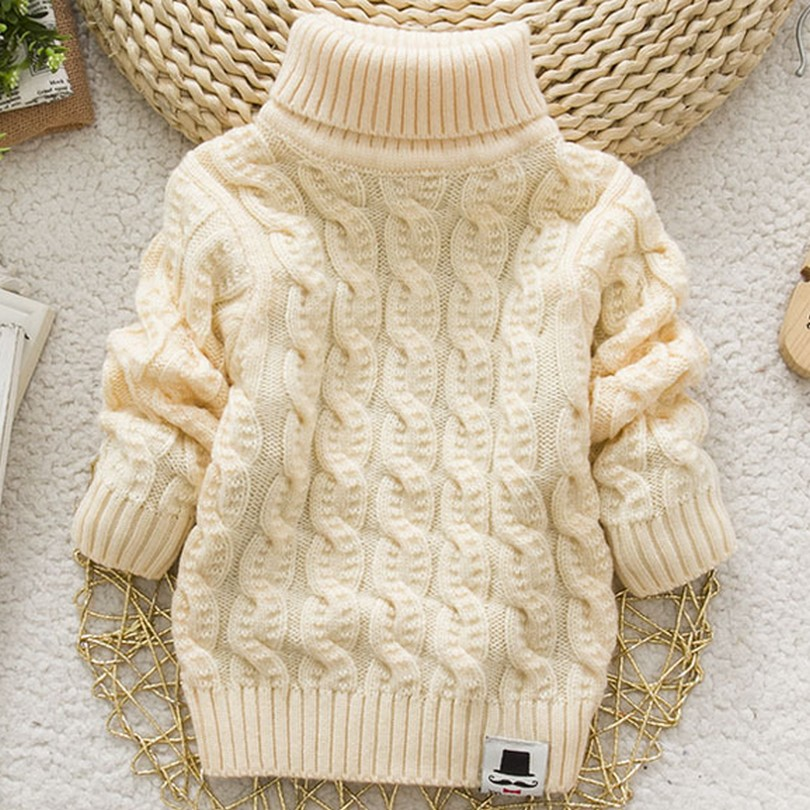 b6282d6783eb Boys Girls Turtleneck with Beard Label Solid Baby Kids Sweaters Soft ...