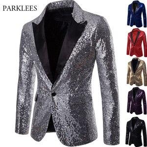 Image 2 - Goud Pailletten Smoking Blazer Mannen Stage Disco Nachtclub Heren Blazers Pak Jas Slim Fit Een Knop Shiny Glitter Blazer Masculino