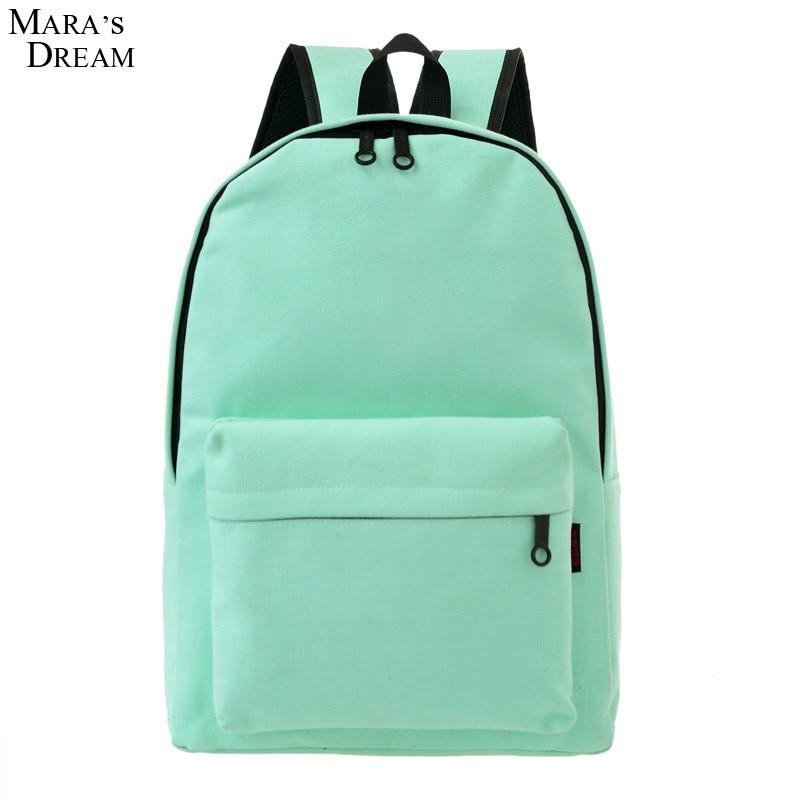 e4bd91f337e2 Купить на aliexpress Mara's Dream 2018 холщовый школьный рюкзак, однотонные  рюкзаки ярких цветов на молнии