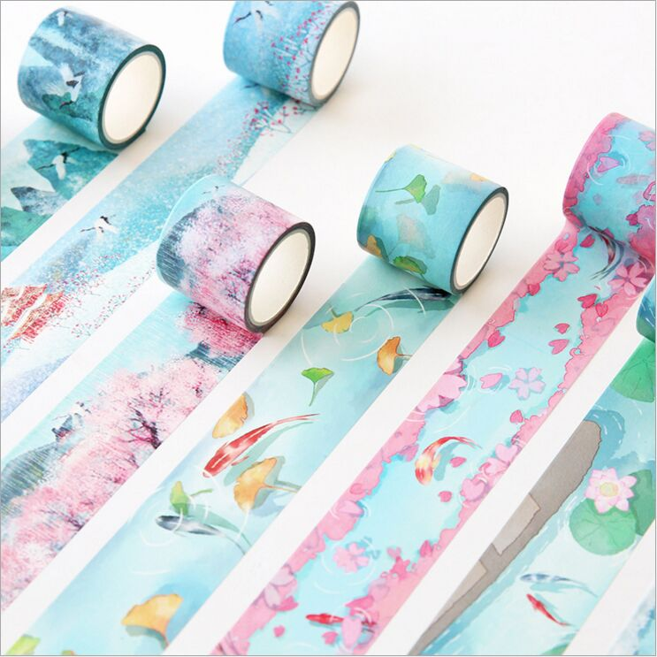 37mm Ancient The Four Seasons Carp Koi Wild Crane Chinese Ink Paintings Washi Tape DIY Planner Decoration Scrapbook Masking Tape