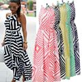 2017 Womens Fashion Boho Long Dress Sexy Halter Off Shoulder Striped Long Maxi Dress Party Summer Beach Dresses Sundress