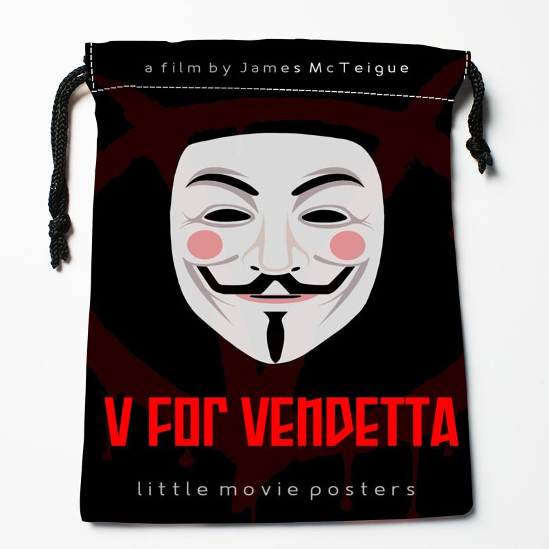 New Arrive V For Vendetta Drawstring Bags Custom Storage Bags Storage Printed Gift Bags More Size 27x35cm DIY Your Picture